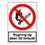 Rygning og åben ild forbudt (Plast)